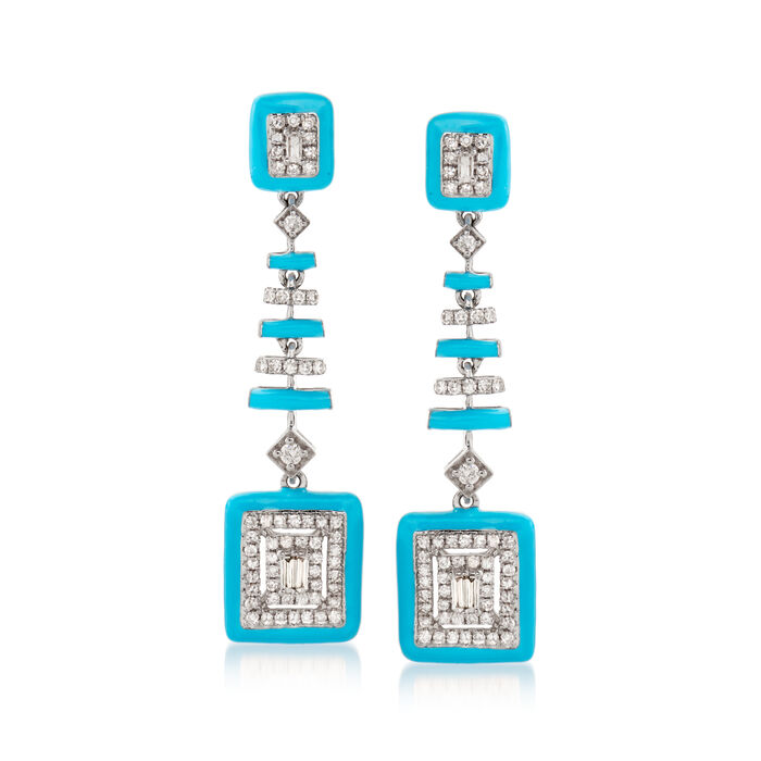 .50 ct. t.w. Diamond Drop Earrings with Turquoise Enamel in 18kt White Gold