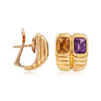 C. 1990 Vintage 1.60 ct. t.w. Amethyst and 1.60 ct. t.w. Citrine Ribbed Earrings in 18kt Yellow Gold , , default