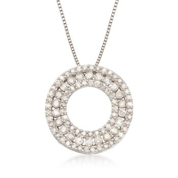 1.00 ct. t.w. Diamond Open Eternity Circle Pendant Necklace in Sterling Silver, , default