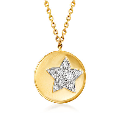 .18 ct. t.w. Pave Diamond Star Disc Pendant Necklace in 14kt Yellow Gold