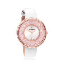 Swarovski Crystal Crystalline Pure Women's Rose Goldtone Stainless Watch With Crystals and White Leather, , default