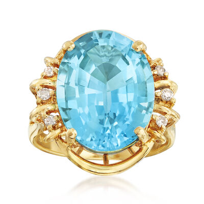 C. 1980 Vintage 11.50 Carat Blue Topaz and .10 ct. t.w. Diamond Ring in 14kt Yellow Gold, , default
