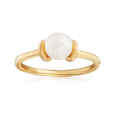 C. 1990 Vintage 6mm Cultured Pearl Ring in 14kt Yellow Gold, , default