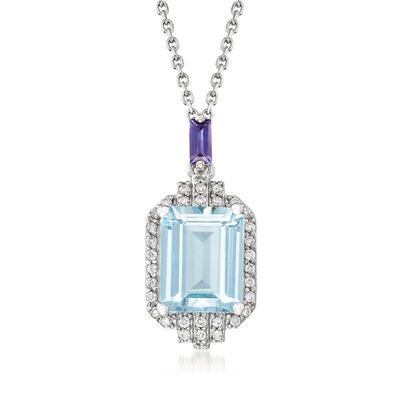 1.80 Carat Aquamarine, .10 Carat Iolite and .15 ct. t.w. Diamond Pendant Necklace in 14kt White Gold, , default