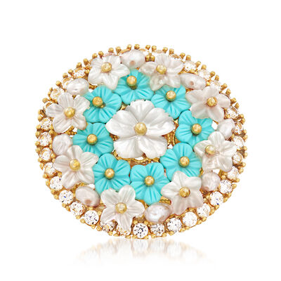 Italian Mother-Of-Pearl and Simulated Turquoise Floral Ring With CZs in 18kt Gold Over Sterling, , default