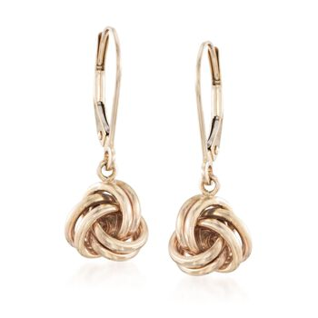 14kt Yellow Gold Love Knot Drop Earrings, , default