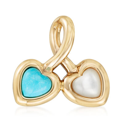 Turquoise and Mother-Of-Pearl Heart Pendant in 14kt Yellow Gold, , default