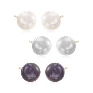 9-10mm Multicolored Cultured Button Pearl Jewelry Set: Three Pairs of Stud Earrings in 14kt Gold #925163