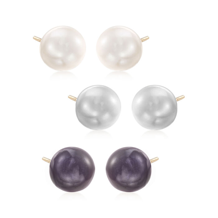 9-10mm Multicolored Cultured Button Pearl Jewelry Set: Three Pairs of Stud Earrings in 14kt Gold