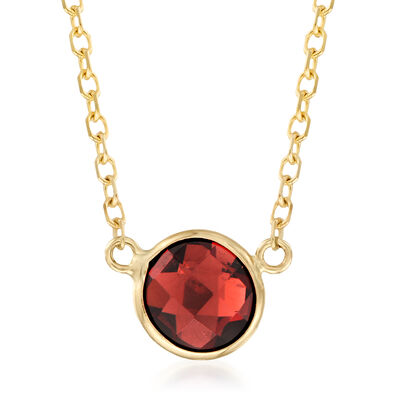 .90 Carat Red Garnet Necklace in 14kt Yellow Gold, , default