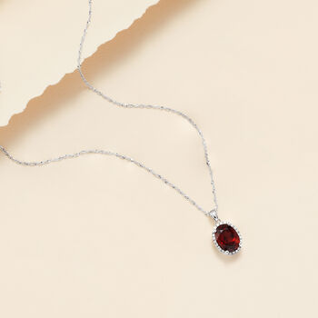 "2.00 Carat Garnet Pendant Necklace with Diamonds in 14kt White Gold. 18"", , default"
