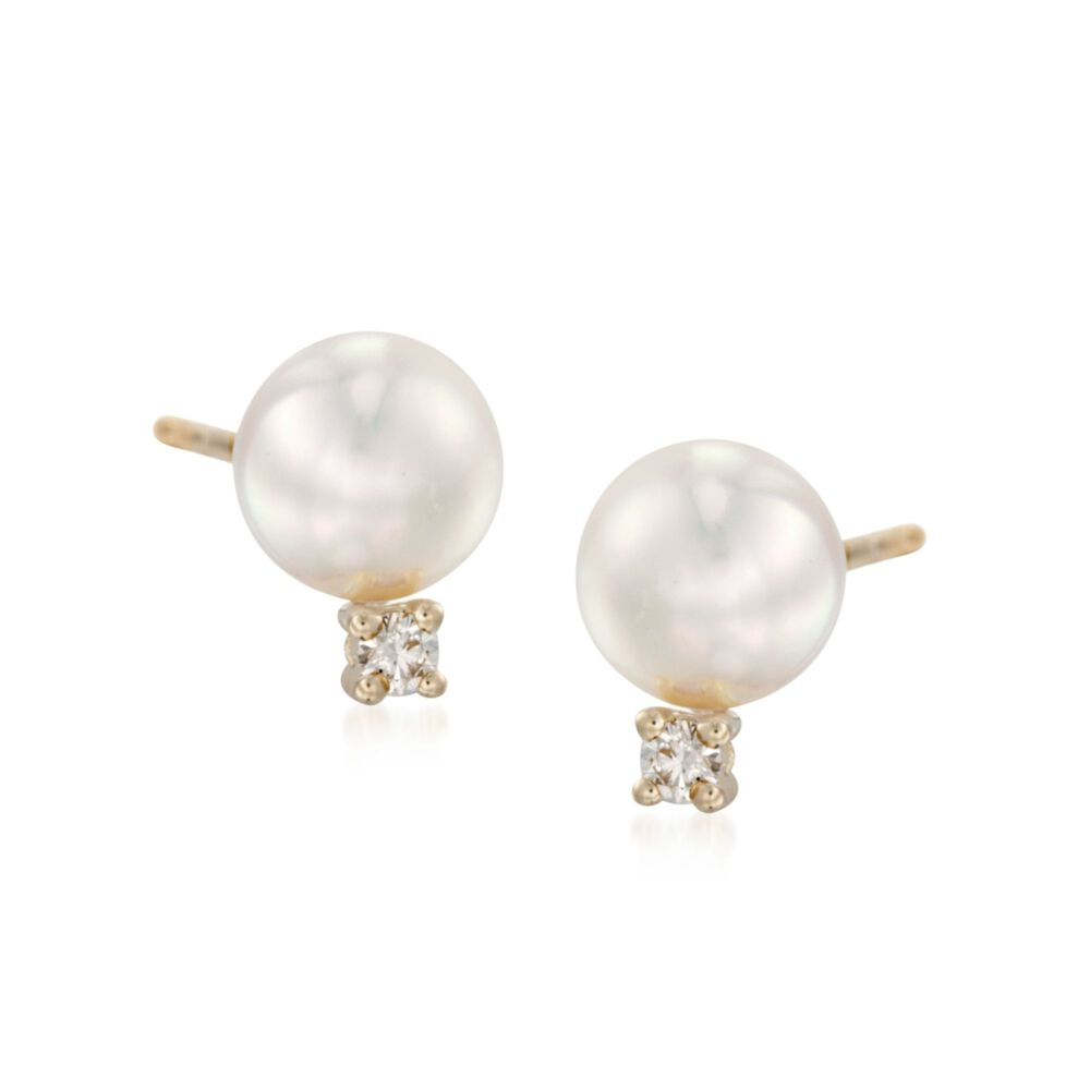 Mikimoto 6 5mm A Akoya Pearl And Diamond Stud Earrings In 18kt Yellow Gold