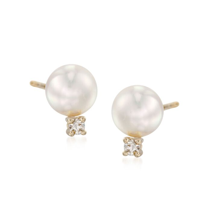 Mikimoto 6-6.5mm A+ Akoya Pearl and Diamond Stud Earrings in 18kt Yellow Gold, , default