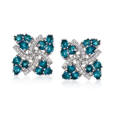 5.25 ct. t.w. London Blue Topaz and .20 ct. t.w. White Zircon Pinwheel Earrings in Sterling Silver