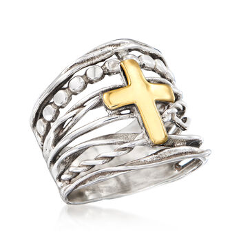 Multi-Row Cross Ring in Sterling Silver and 14kt Yellow Gold, , default
