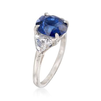 C. 1990 Vintage 2.90 Carat Sapphire and .90 ct. t.w. Diamond Ring in Platinum. Size 7.75, , default