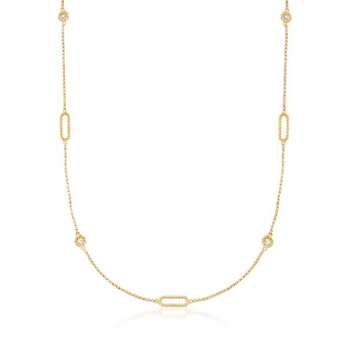 "Roberto Coin ""Barocco"" .19 ct. t.w. Diamond Station Necklace in 18kt Yellow Gold. 18"", , default"