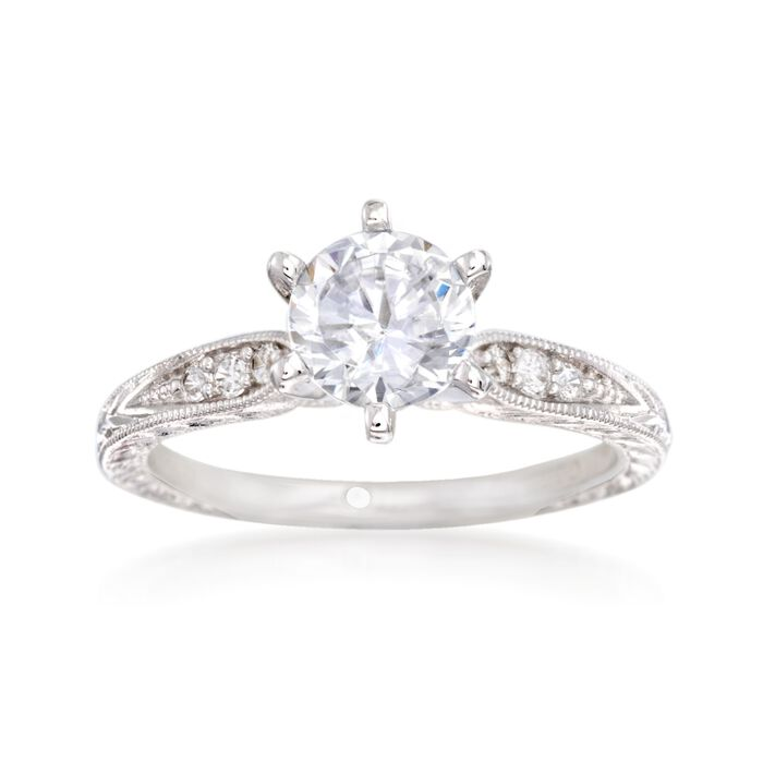 Gabriel Designs .10 ct. t.w. Diamond Engagement Ring Setting in 14kt White Gold