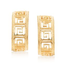 14kt Yellow Gold Greek Key Hoop Earrings , , default