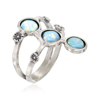 Synthetic Opal Floral Ring in Sterling Silver, , default