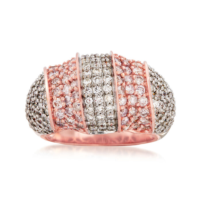 2.90 ct. t.w. Pink and White Diamond Dome Ring in 18kt Rose Gold. Size 7, , default