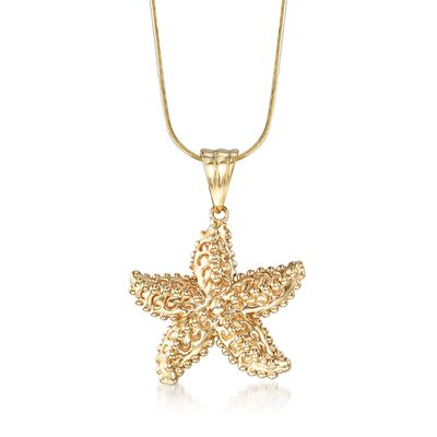 14kt Yellow Gold Beaded Starfish Pendant , , default