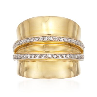 .46 ct. t.w. CZ Striped Wide-Style Ring in 14kt Yellow Gold Over Sterling, , default