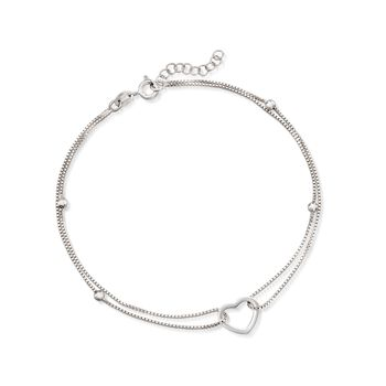 """Sterling Silver Heart and Bead Anklet. 9"""", , default"""