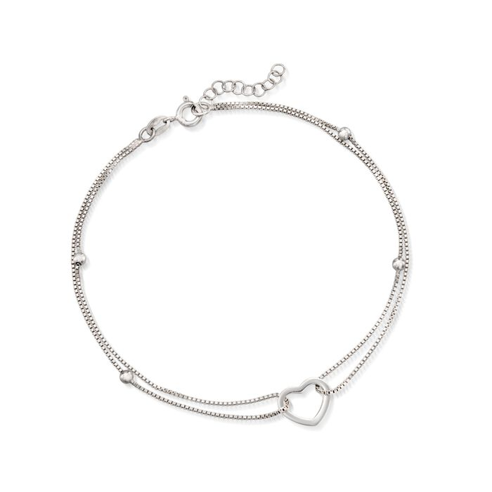 "Sterling Silver Heart and Bead Anklet. 9"", , default"