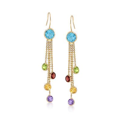 4.00 ct. t.w. Multi-Stone Drop Earrings in 14kt Yellow Gold, , default