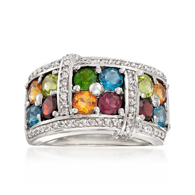 3.60 ct. t.w. Multi-Gem Ring in Sterling Silver, , default