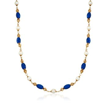 """C. 1980 Vintage Cultured Pearl and Blue Enamel Bead Necklace in 18kt Yellow Gold. 35"""", , default"""