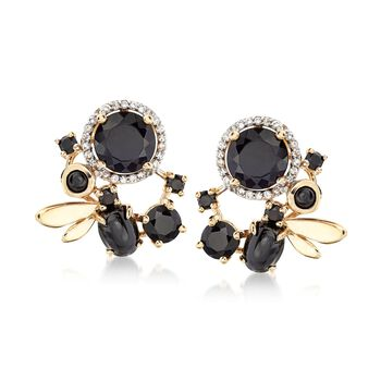 Black Onyx and .20 ct. t.w. White Topaz Drop Earrings in 14kt Yellow Gold Over Sterling Silver, , default