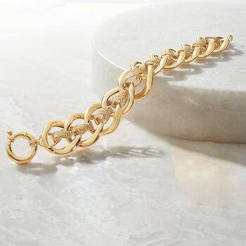 "Italian 14kt Yellow Gold Double-Link Bracelet. 7.75"", , default"