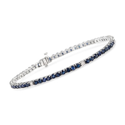 6.25 ct. t.w. Sapphire and .40 ct. t.w. Diamond Tennis Bracelet in 14kt White Gold