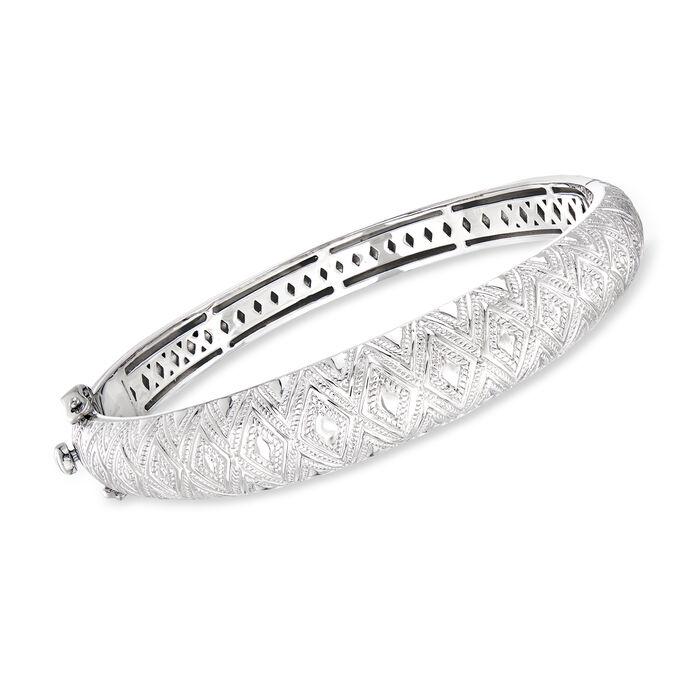 "Andrea Candela ""Tapiceria"" Sterling Silver Beaded Dome Bangle Bracelet"