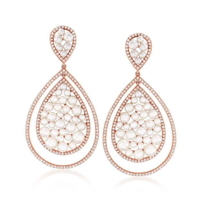 2-4.5mm Cultured Pearl and 1.30 ct. t.w. Diamond Teardrop Earrings in 18kt Rose Gold