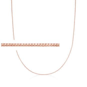 """Italian .8mm 14kt Rose Gold Adjustable Slider Box Chain Necklace. 22"""", , default"""