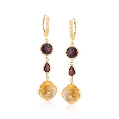 10.00 ct. t.w. Citrine and 6.30 ct. t.w. Garnet Drop Earrings in 14kt Yellow Gold, , default