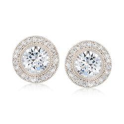 2.35 ct. t.w. CZ Halo Stud Earrings in Sterling Silver, , default