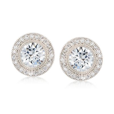 2.35 ct. t.w. CZ Halo Stud Earrings in Sterling Silver, , default