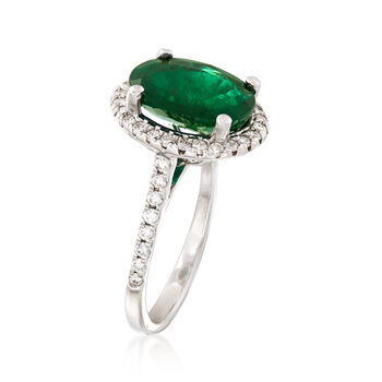 3.70 Carat Emerald and .60 ct. t.w. Diamond Ring in 14kt White Gold, , default