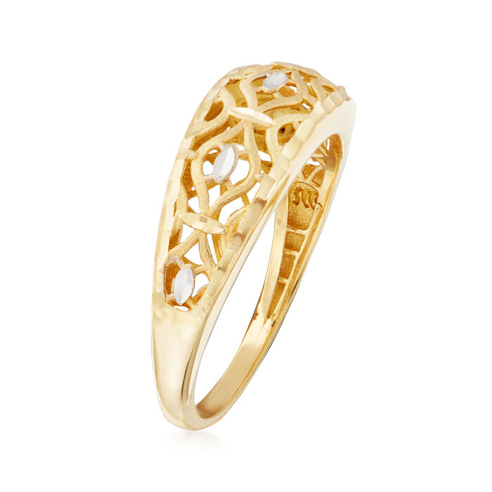 Italian 18kt Two-Tone Gold Openwork Ring