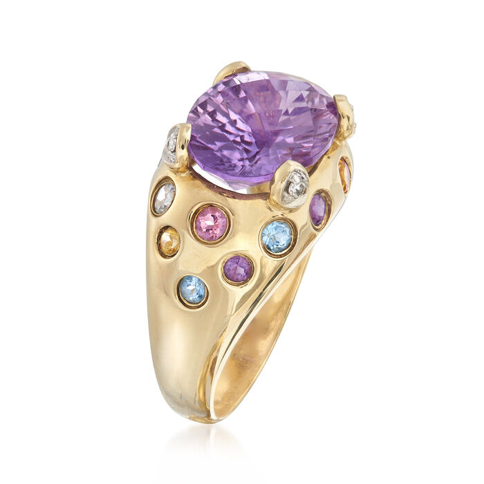 C. 2000 Vintage 5.50 Carat Amethyst and .52 ct. t.w. Multi-Gemstone Ring with Diamond Accents in 10kt Yellow Gold