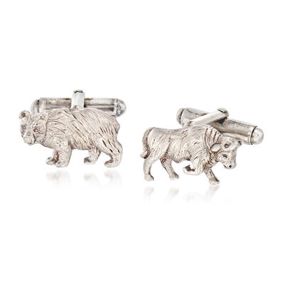C. 1980 Vintage Tiffany Jewelry Sterling Silver Bull and Bear Cuff Links, , default