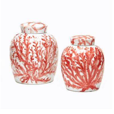 """Corals"" Set of 2 Porcelain Covered Ginger Jars, , default"