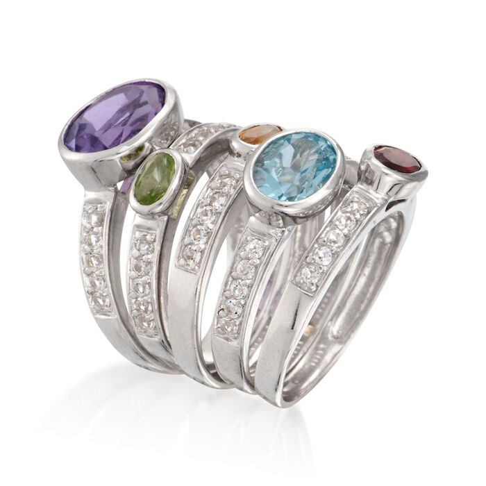 4.75 ct. t.w. Multi-Stone Jewelry Set: Five Rings in Sterling Silver
