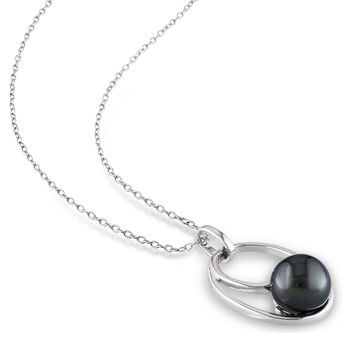 "9.5-10mm Black Cultured Tahitian Pearl Pendant Necklace in Sterling Silver. 18"", , default"
