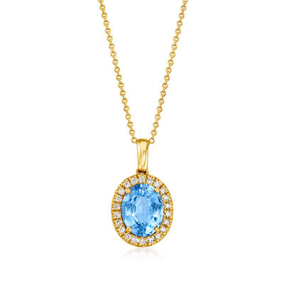 C. 1990 Vintage 2.55 Carat Aquamarine and .25 ct. t.w. Diamond Pendant Necklace in 18kt Yellow Gold