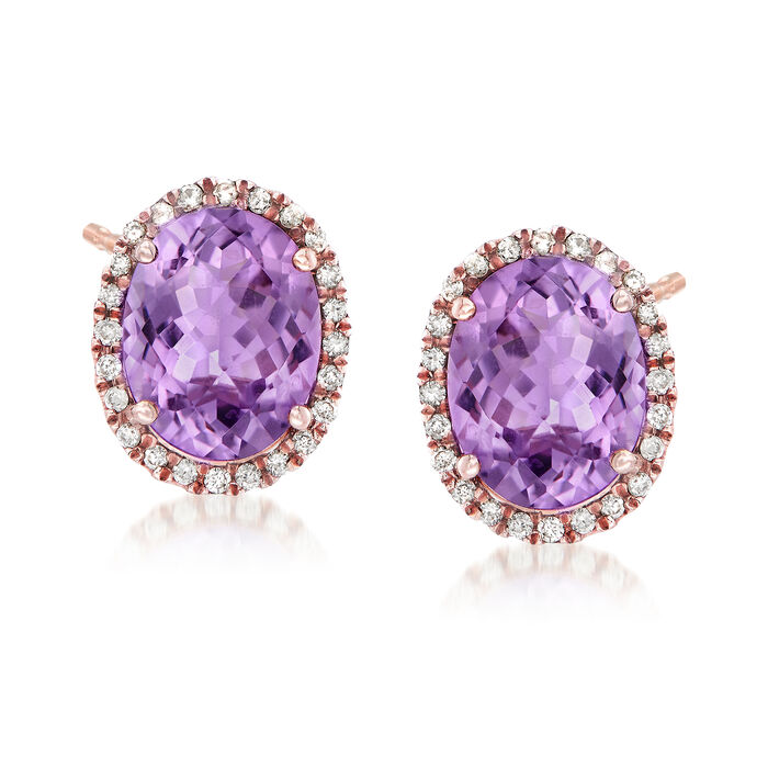 C. 1990 Vintage 5.50 ct. t.w. Amethyst and .40 ct. t.w. Diamond Earrings in 14kt Rose Gold, , default